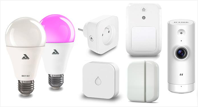 Quelques-uns des accessoires connectés qui fonctionnent avec l'application Maison Connectée d'Orange.