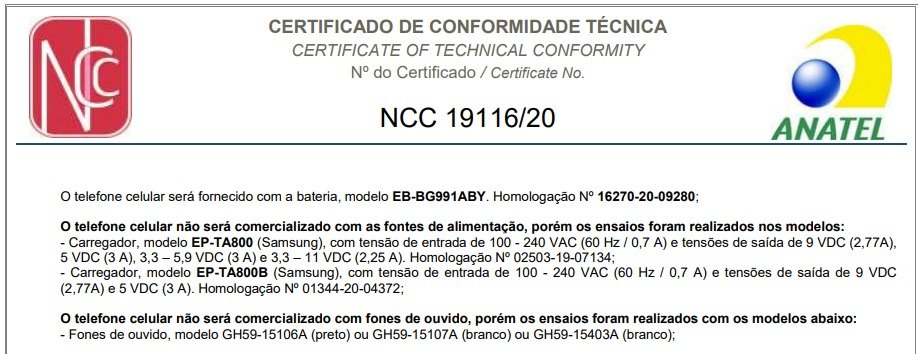 Certification Anatel Galaxy S21