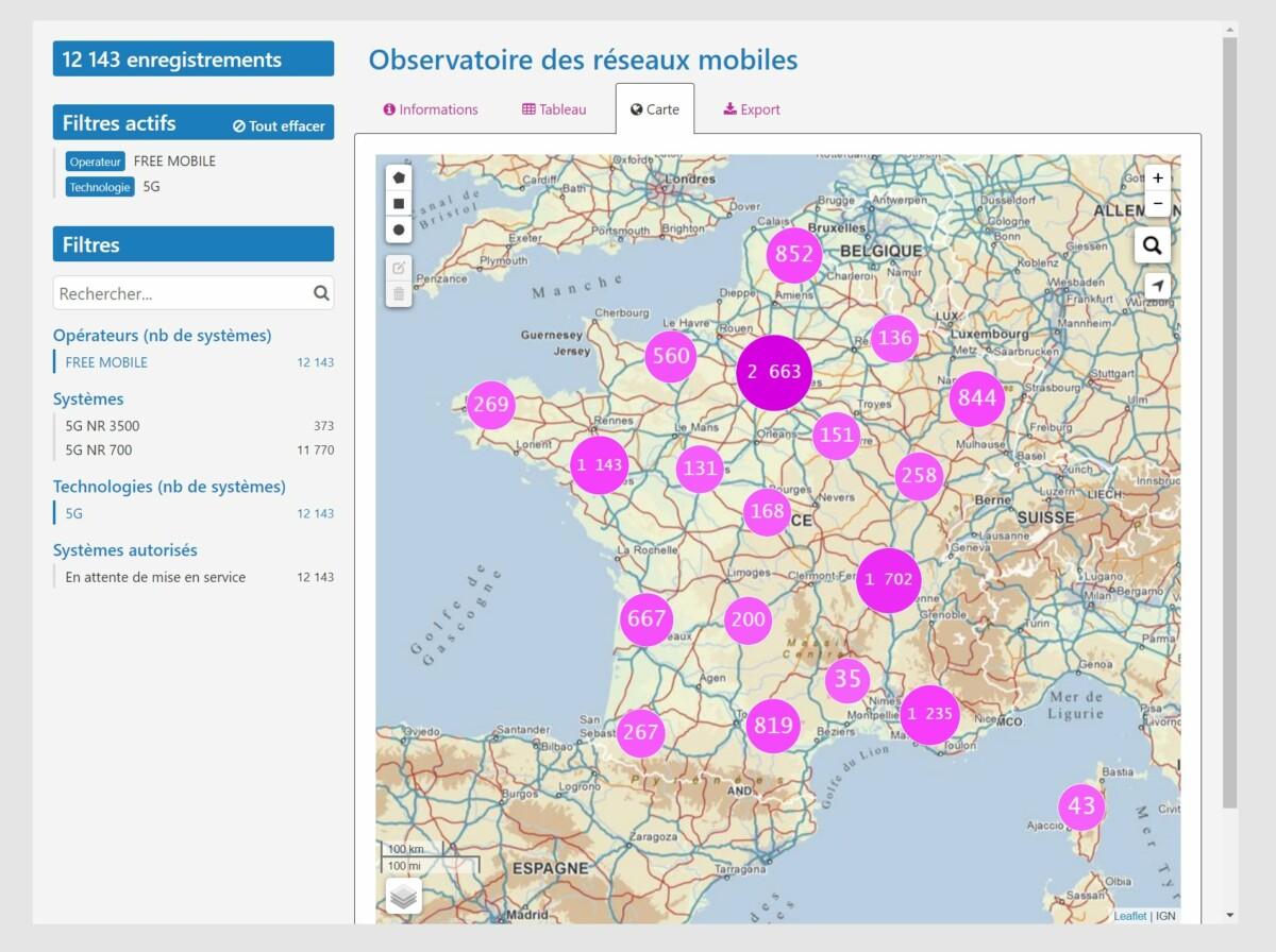 La carte des antennes 5G chez Free Mobile