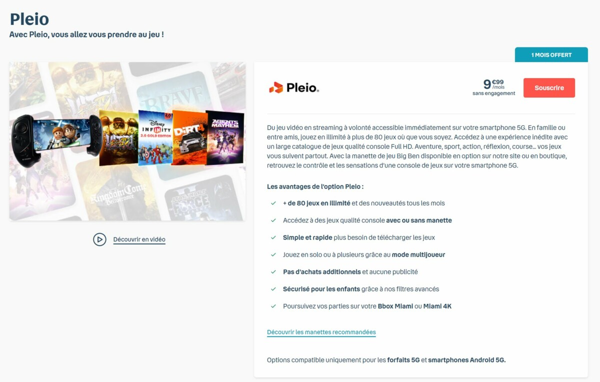 The Pleio offer is available on the Bouygues Telecom website