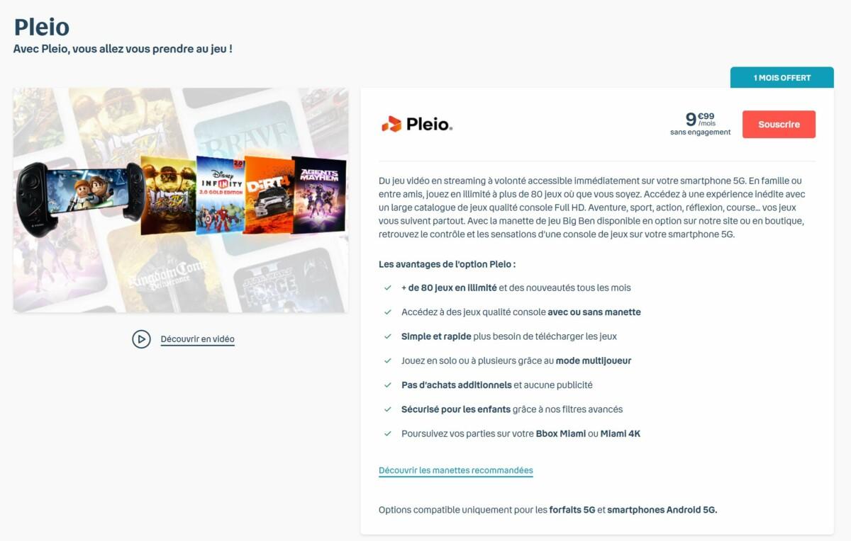 L'offre Pleio est disponible sur le site de Bouygues Telecom