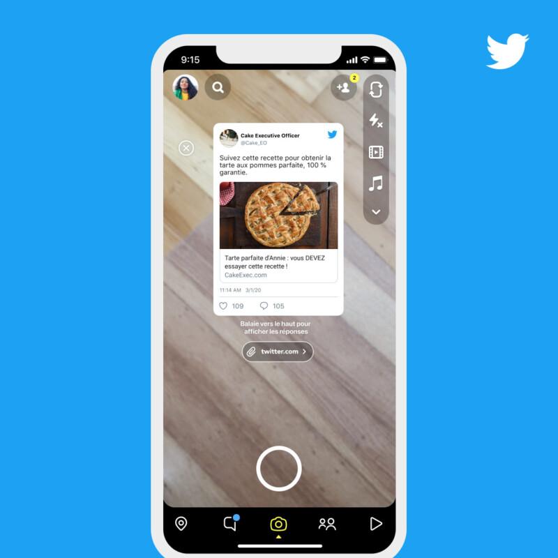 L'appareil photo s'ouvre sur Snapchat et le tweet devient un sticker