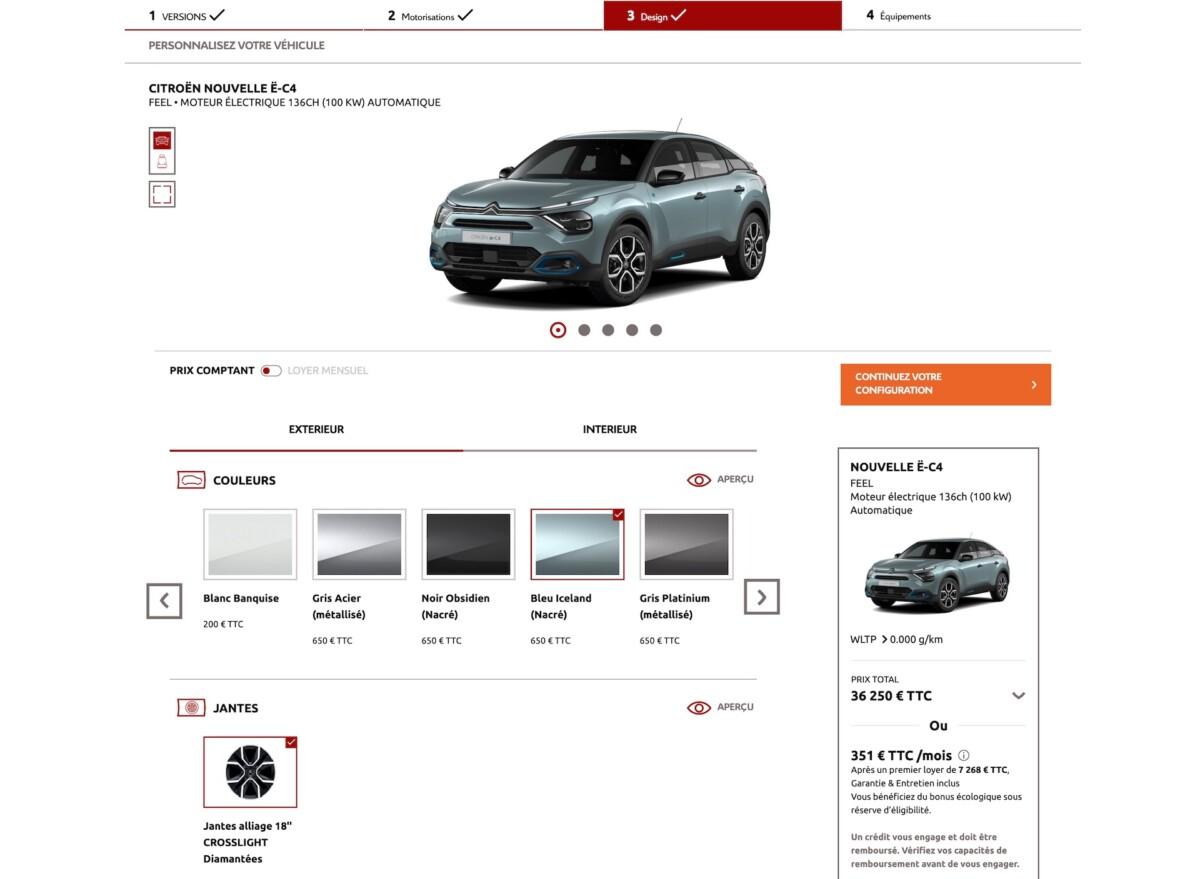 Vous pouvez configurer la Citroënë-C4 directement sur le site de Citroën