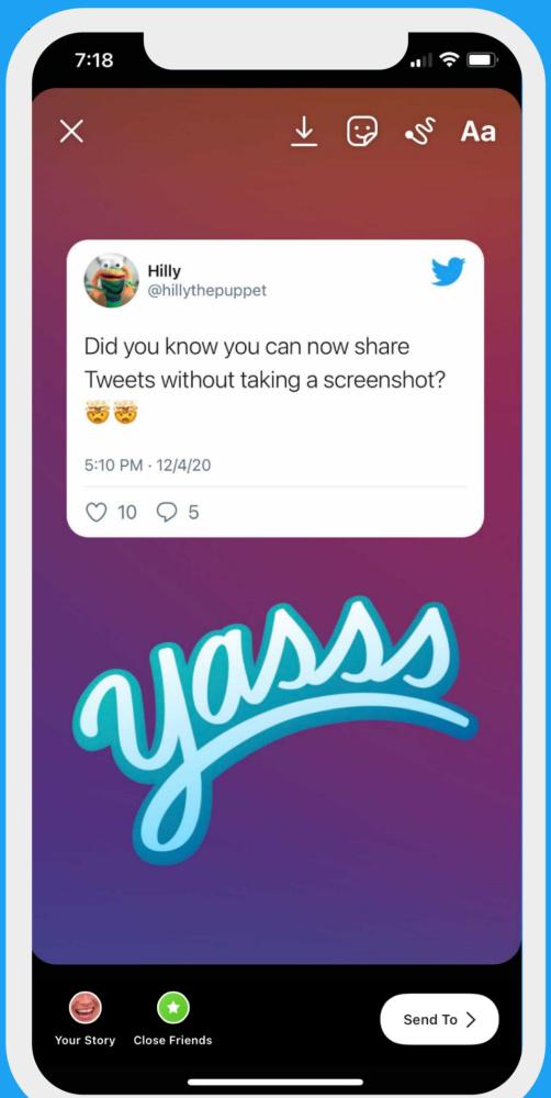 Les tweets arrivent dans les Stories Instagram