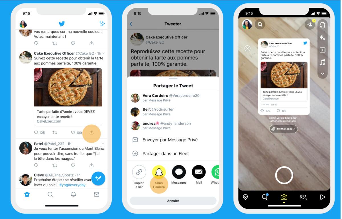 Vous pouvez désormais partager vos tweets sur Snapchat