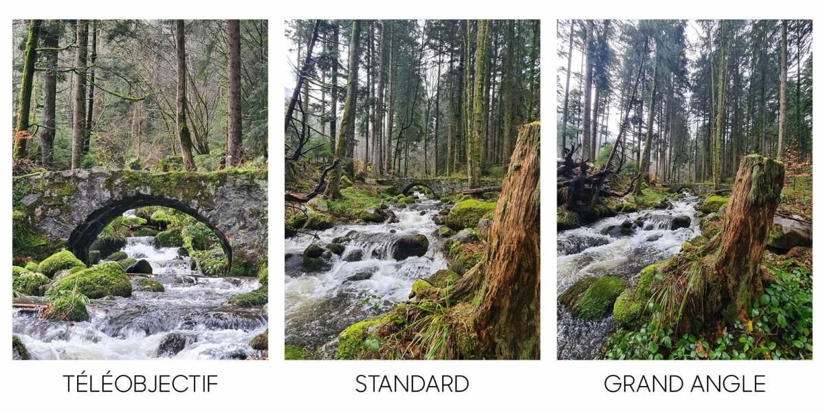 La même scène vue avec les 3 capteurs photo du Samsung Galaxy S20 Ultra. Le grand-angle est ici le plus intéressant.