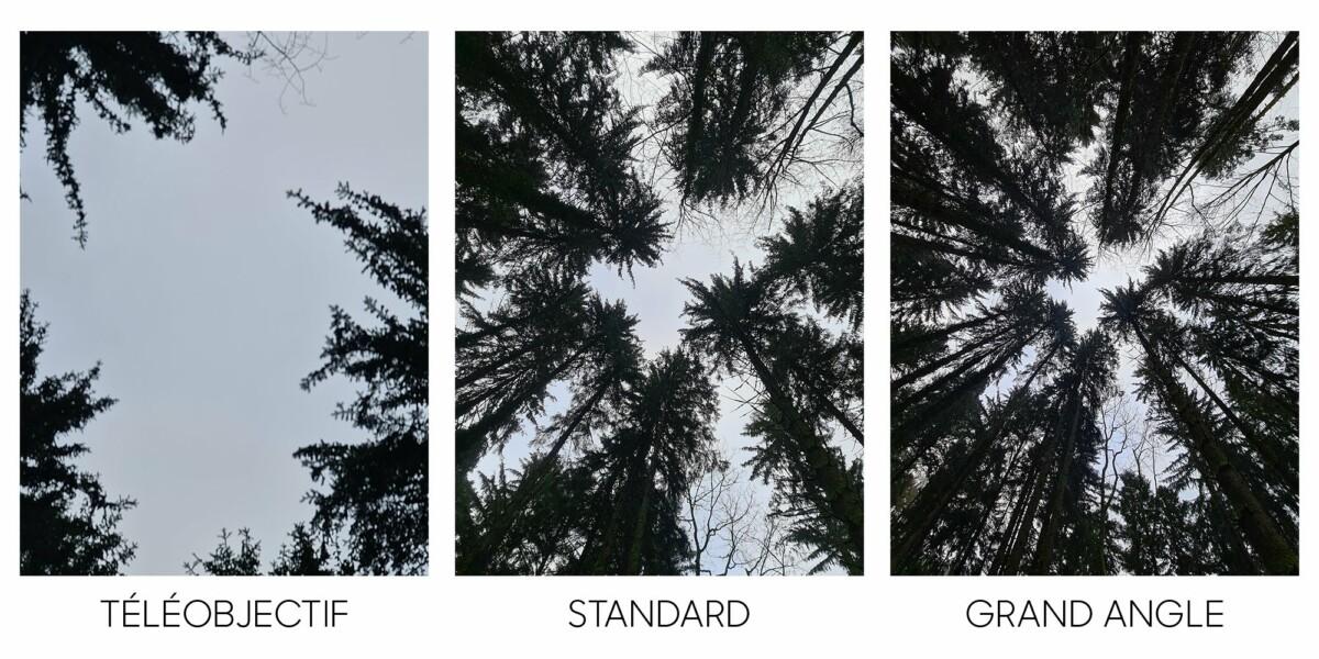 Les 3 capteurs photos différents du Galaxy S20 Ultra ont chacun une focale différente et proposent chacune un angle de vue très différent.
