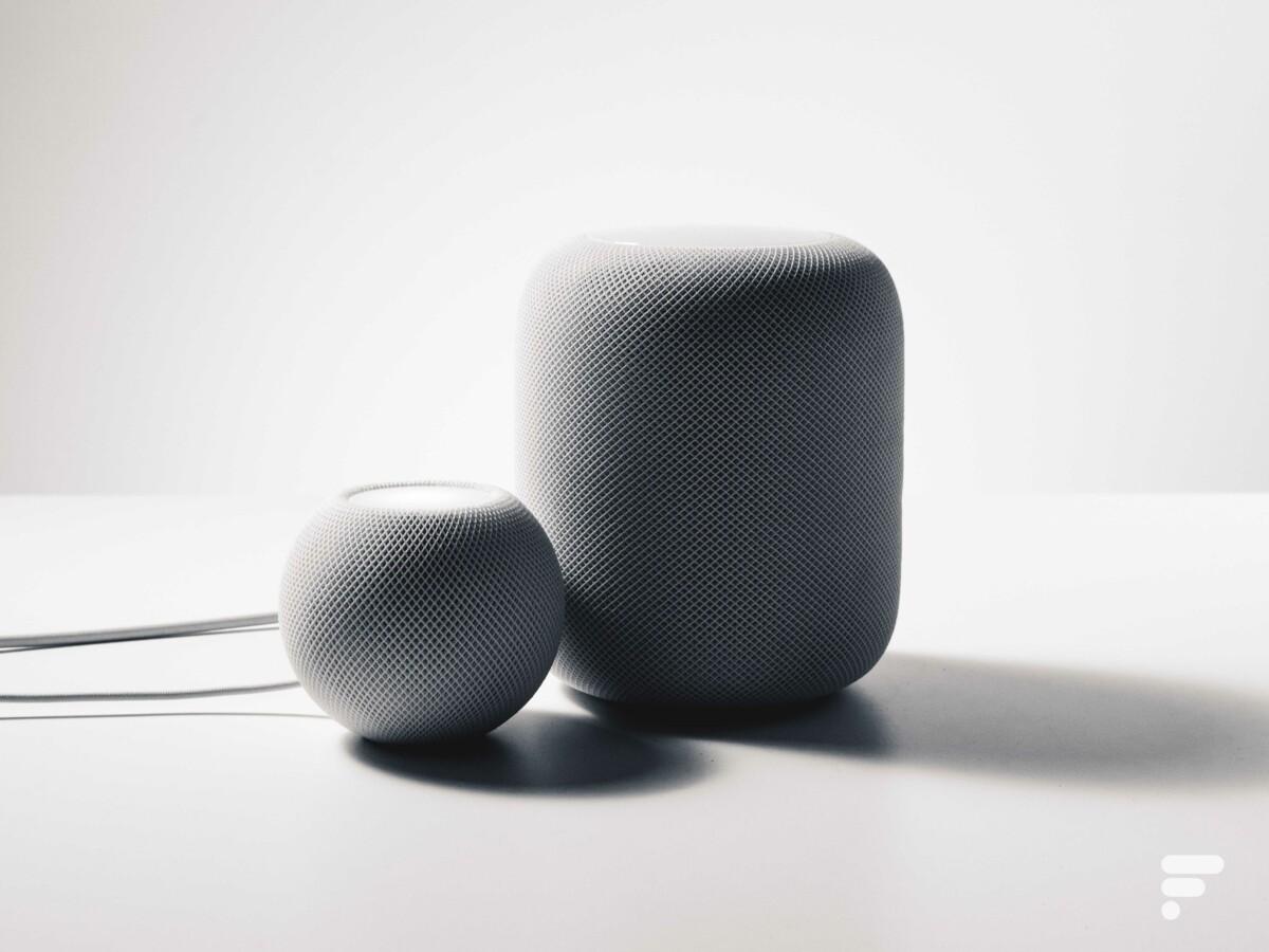 Les deux HomePod d'Apple en version mini et maxi//Source: Frandroid/Arnaud GELINEAU