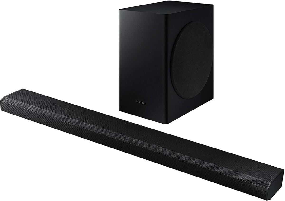 Samsung's HW-Q70T soundbar with its wireless subwoofer.