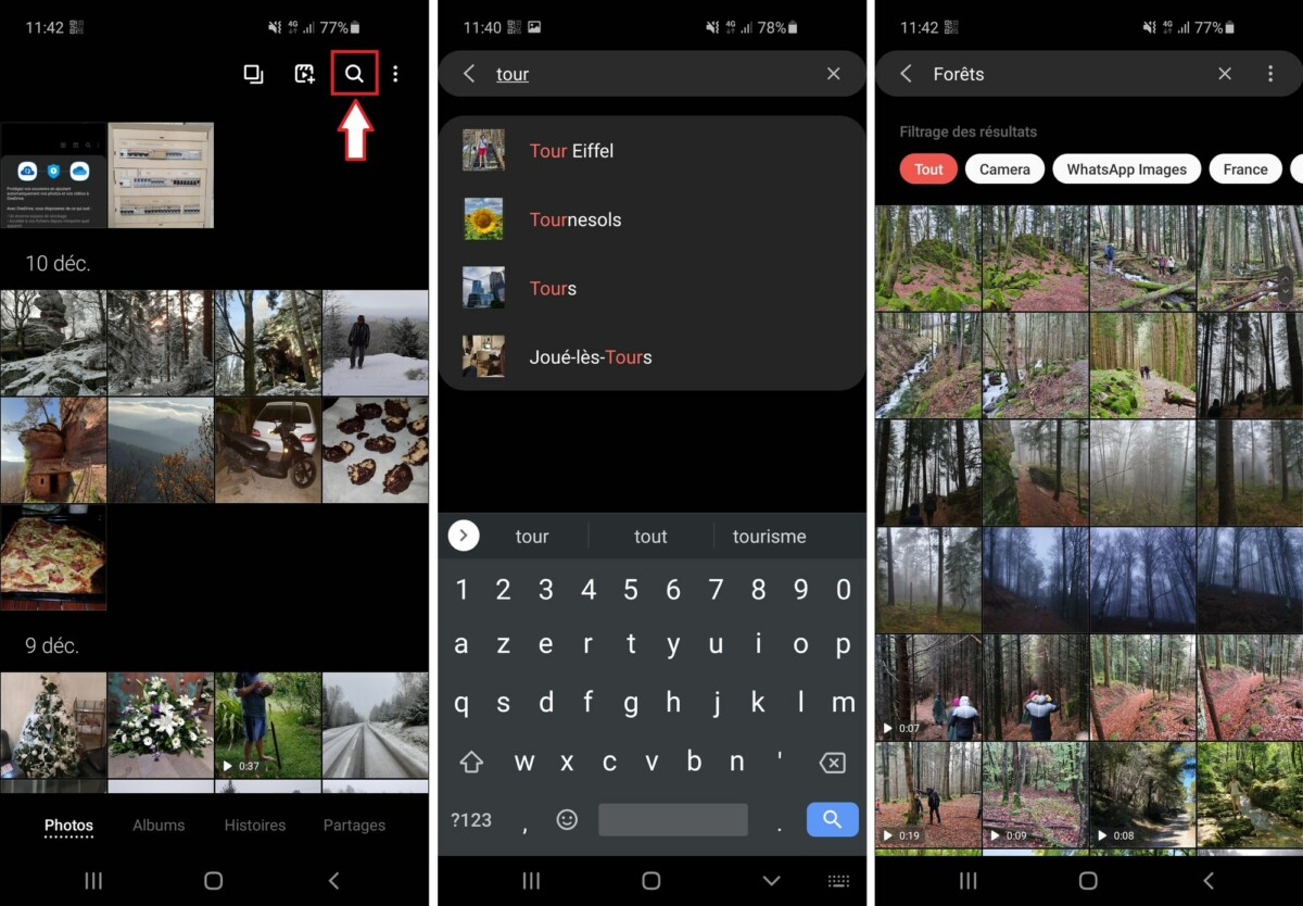 The search function allows you to sort your photos by places and themes.  Convenient !