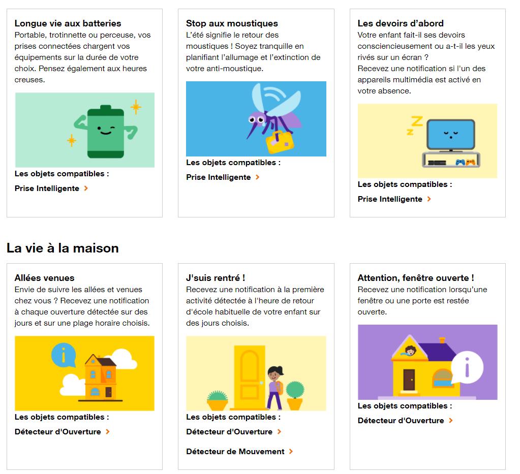 Quelques exemples d'autres scénarios prédéfinis possibles avec l'application Maison Connectée d'Orange.