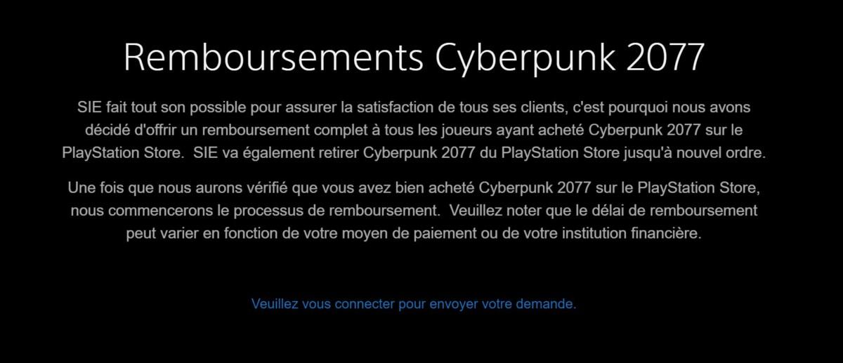 Cyberpunk 2077 a été retiré du PlayStation Store