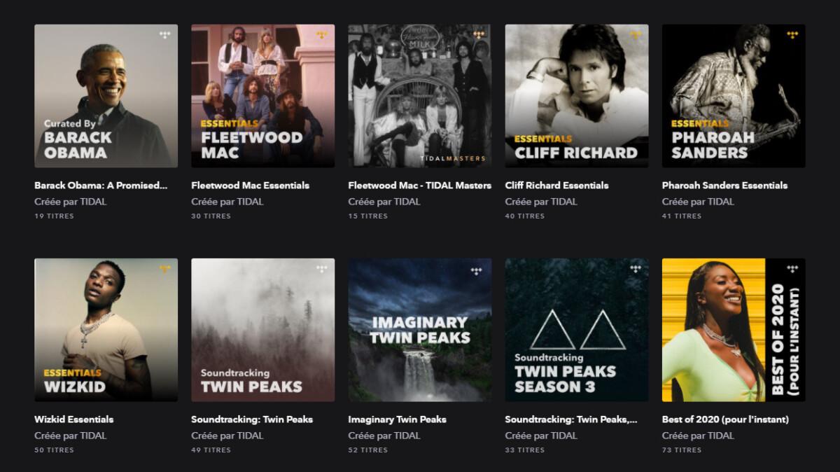Tidal propose de nombreuses playlists éditorialisées