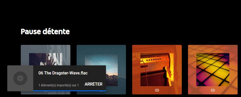 YouTube Music permet très simplement d'ajouter des titres au service
