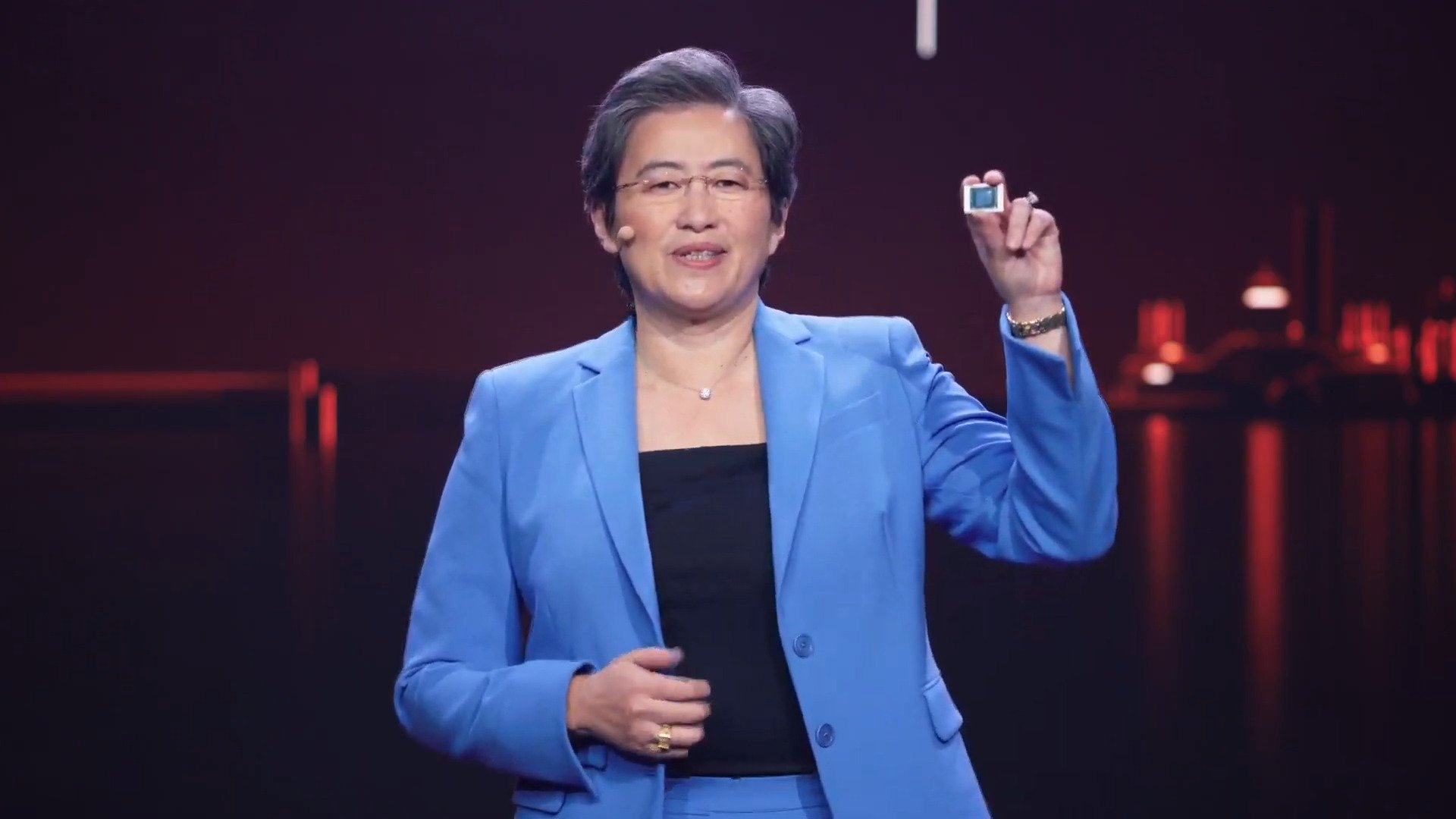 Lisa Su, CEO d'AMD, lors de la présentation des nouveaux processeur Ryzen mobile à l'occasion du CES 2021