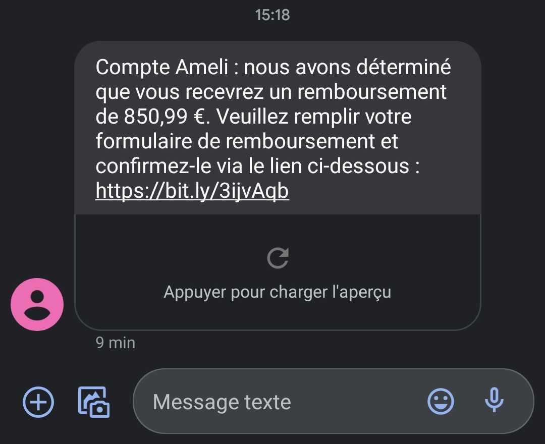 Ce faux SMS prétend que j'ai reçu beaucoup d'argent sur Ameli