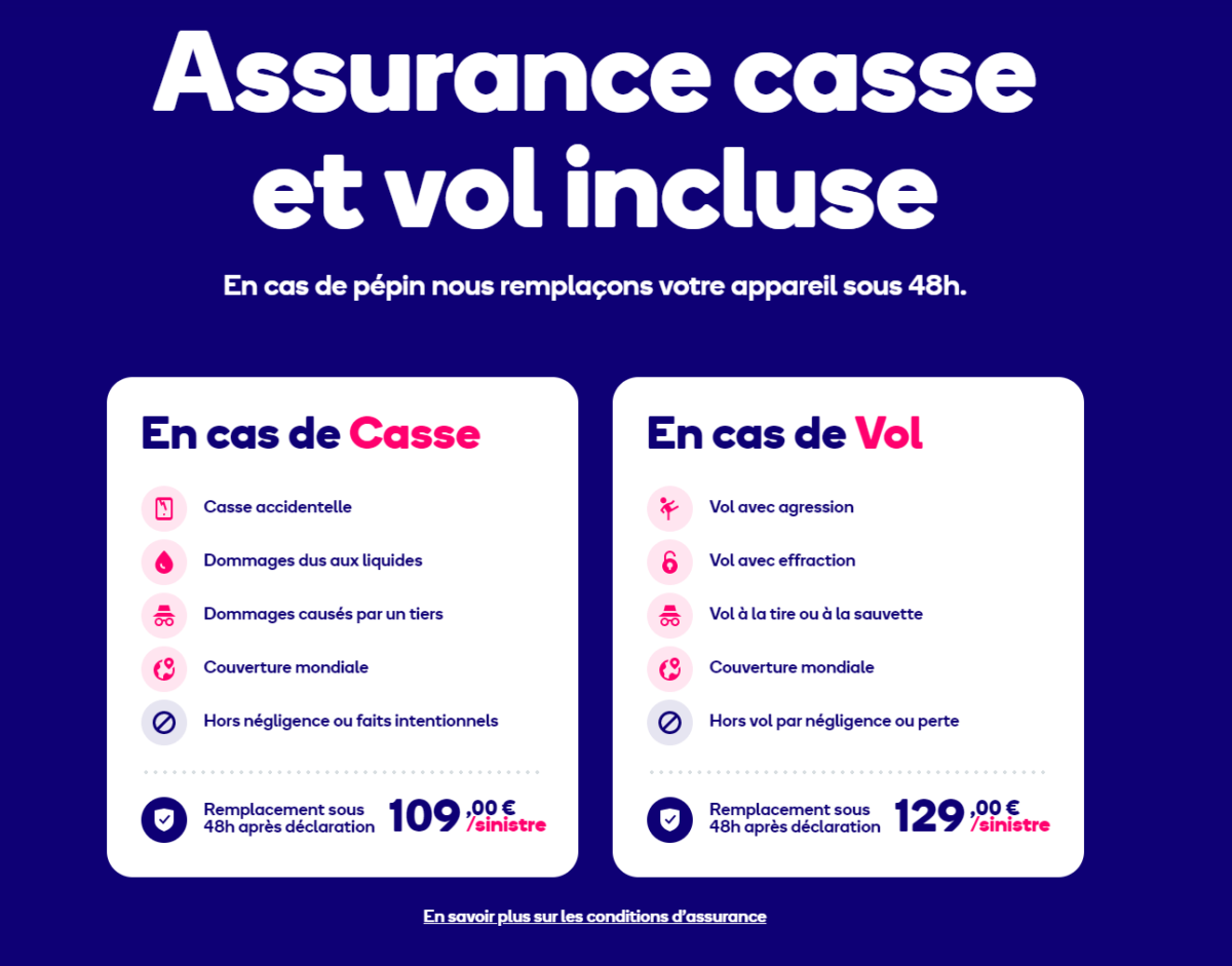 Here is what the insurance of mobile.club covers when renting an iPhone 11 at 32.90 euros per month.