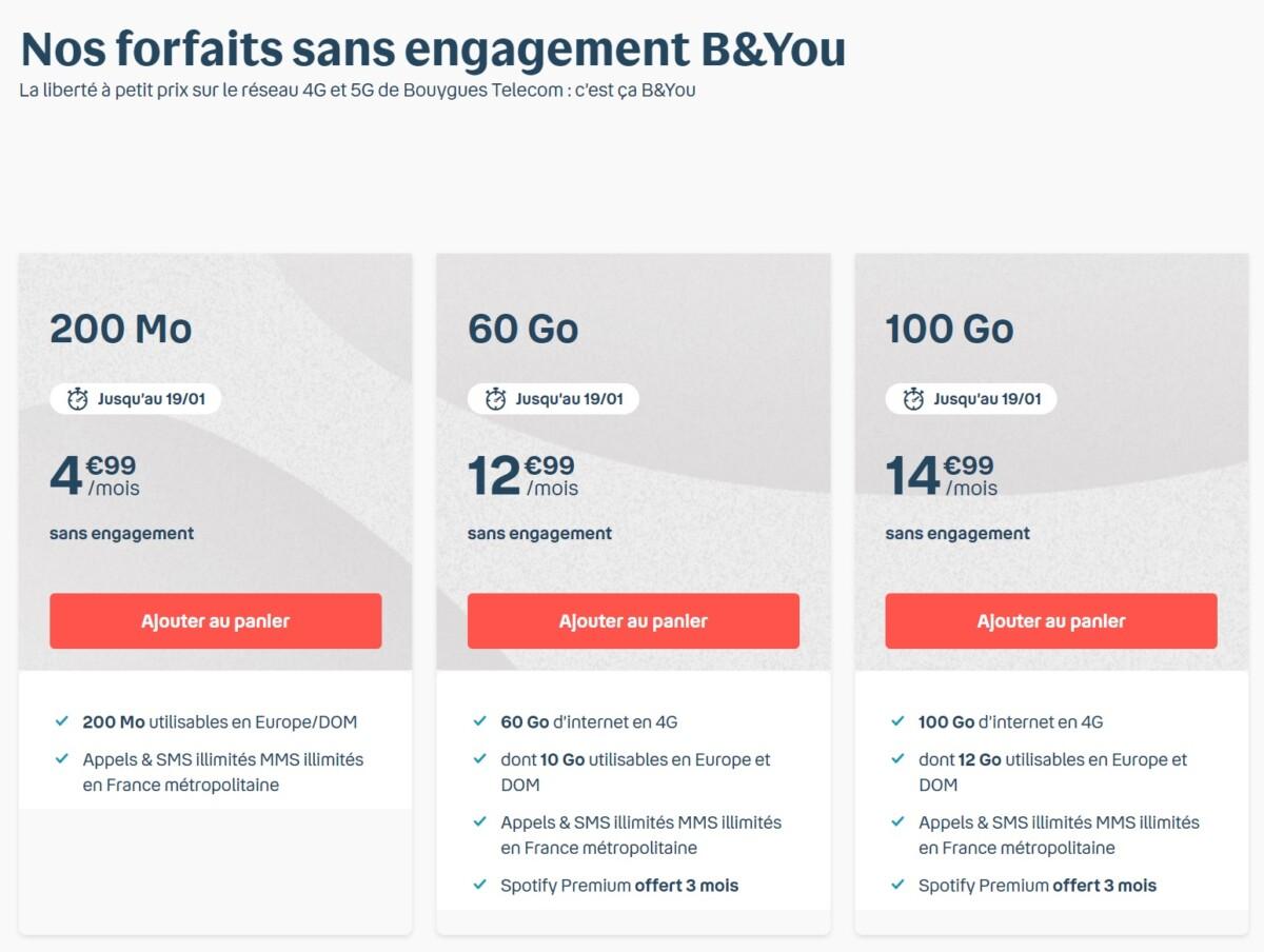 Les forfaits mobile Bouygues Telecom : B&You 60 Go à 12,99 € et 100 Go à 14,99 €