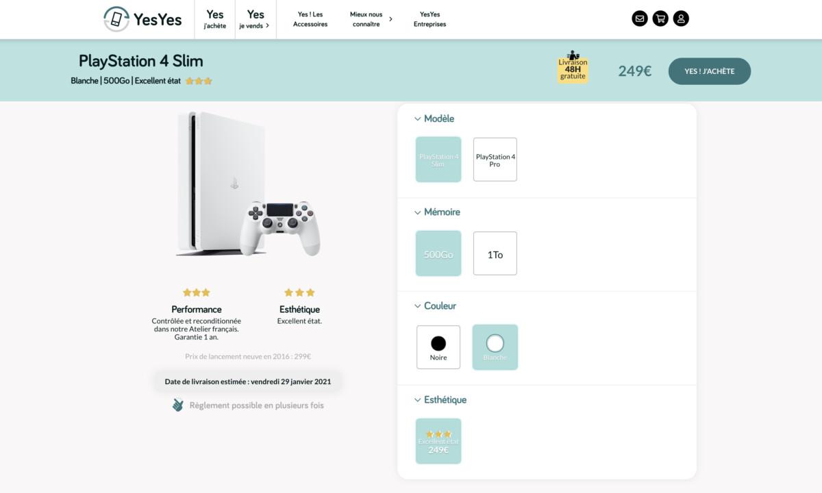 Vente d'une PS4 Slim sur le site YesYes