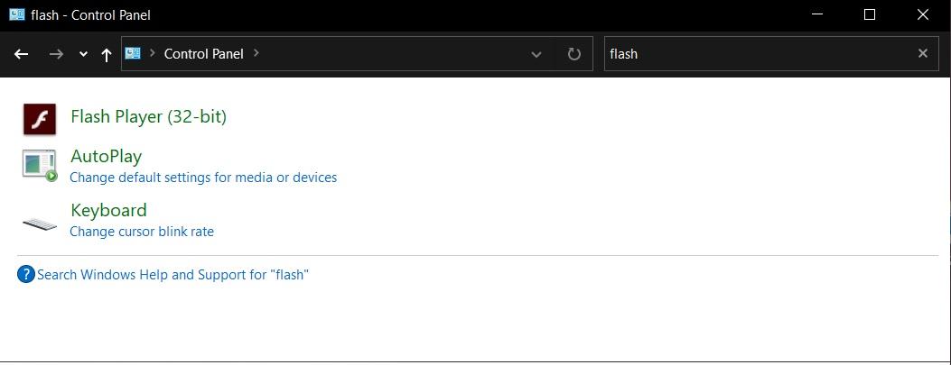 Flash Player Panneau de contrôle