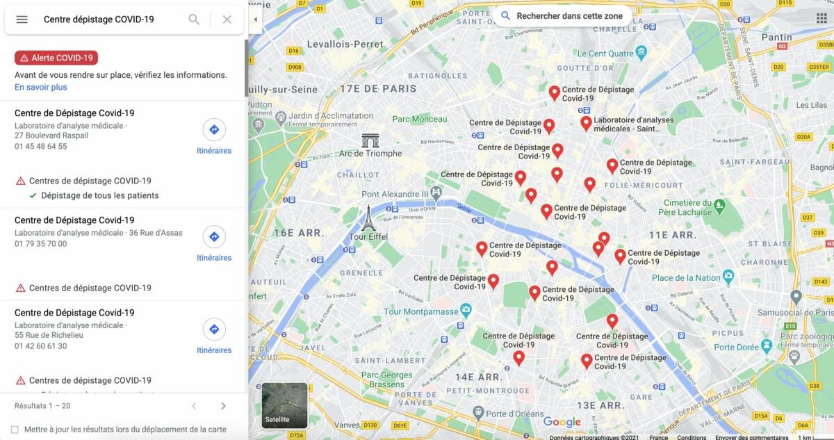 La carte des centres à Paris