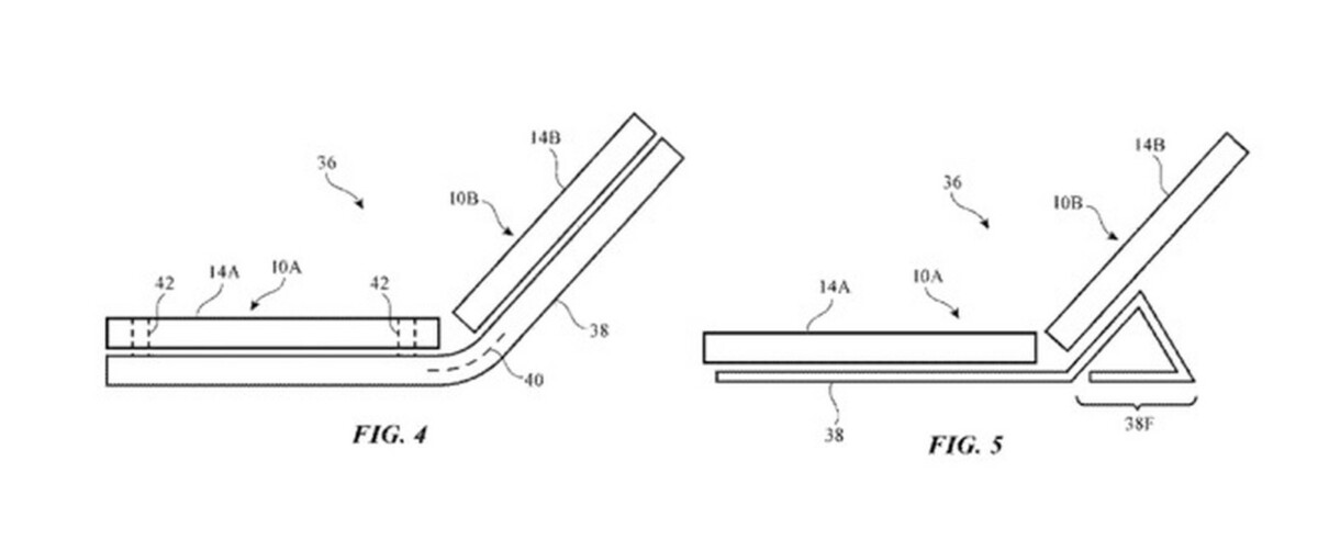 The diagram of a patent obtained by Apple for a technology with two combined screens