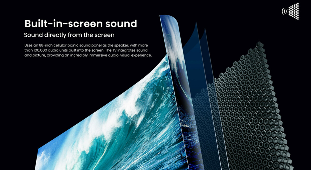 The audio screen is made up of 100,000 audio units called bionic cells
