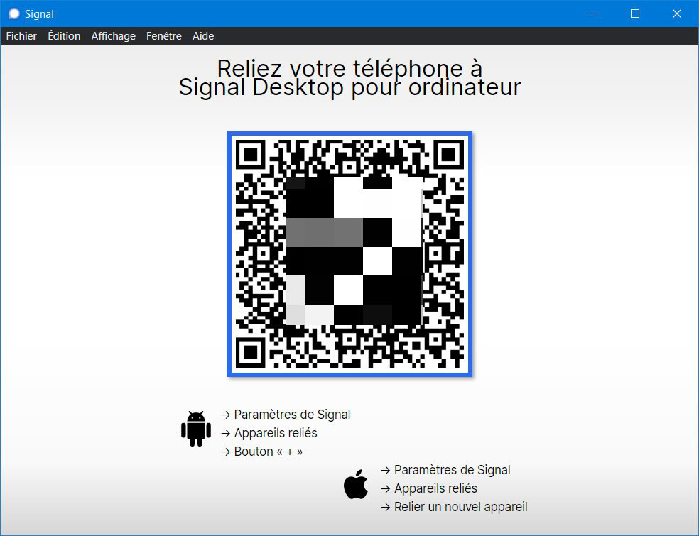 On PC, the Signal application asks to scan a QR Code