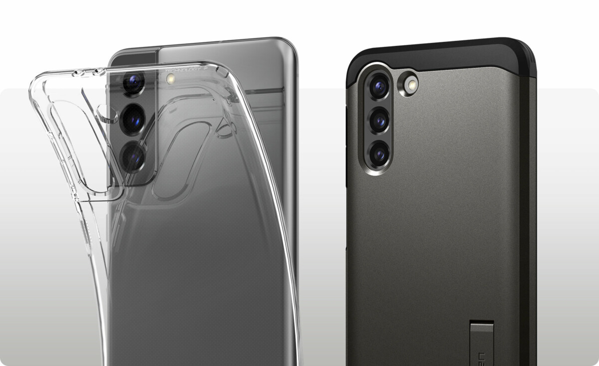 In order, Spigen's Liquid Crystal and Tough Armor cases