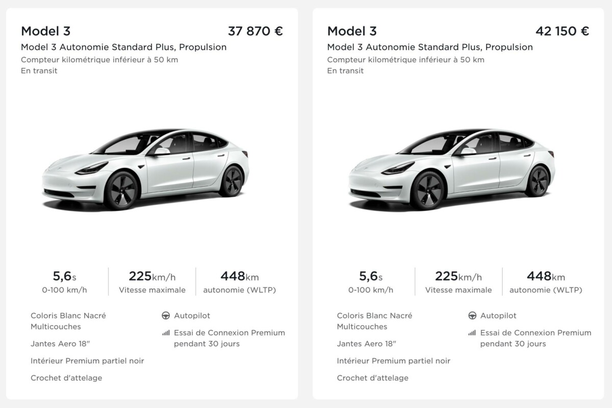 Screenshot shared by a member of the Tesla Model 3 group, the 🇫🇷 Network on Facebook before and after the price increase for the tow bar option