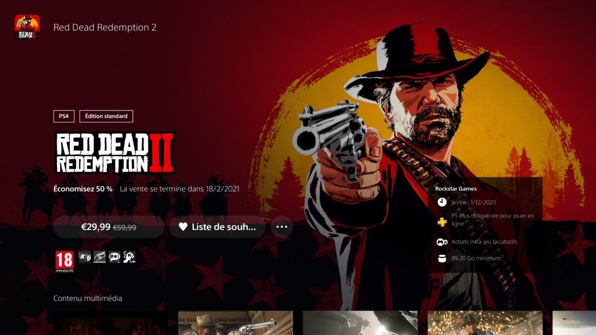 Red Dead Redemption 2 dans le PlayStation Store