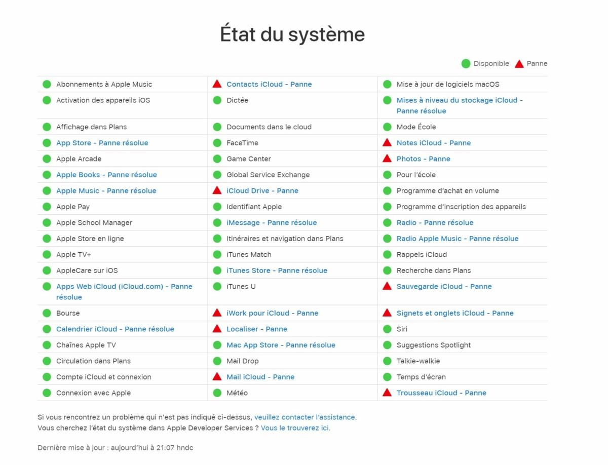 Des services Apple sont en pannes