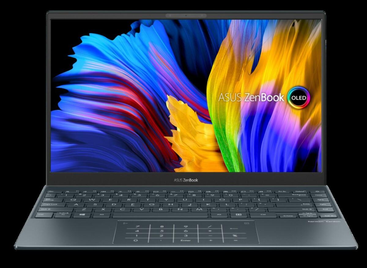 Asus ZenBook 13 UM325 OLED, c'est le même, mais équipé d'un CPU AMD Ryzen 5 5600U ou Ruzen 7 5800U. Il perd le Thunderbolt, mais devrait gagner en performances.