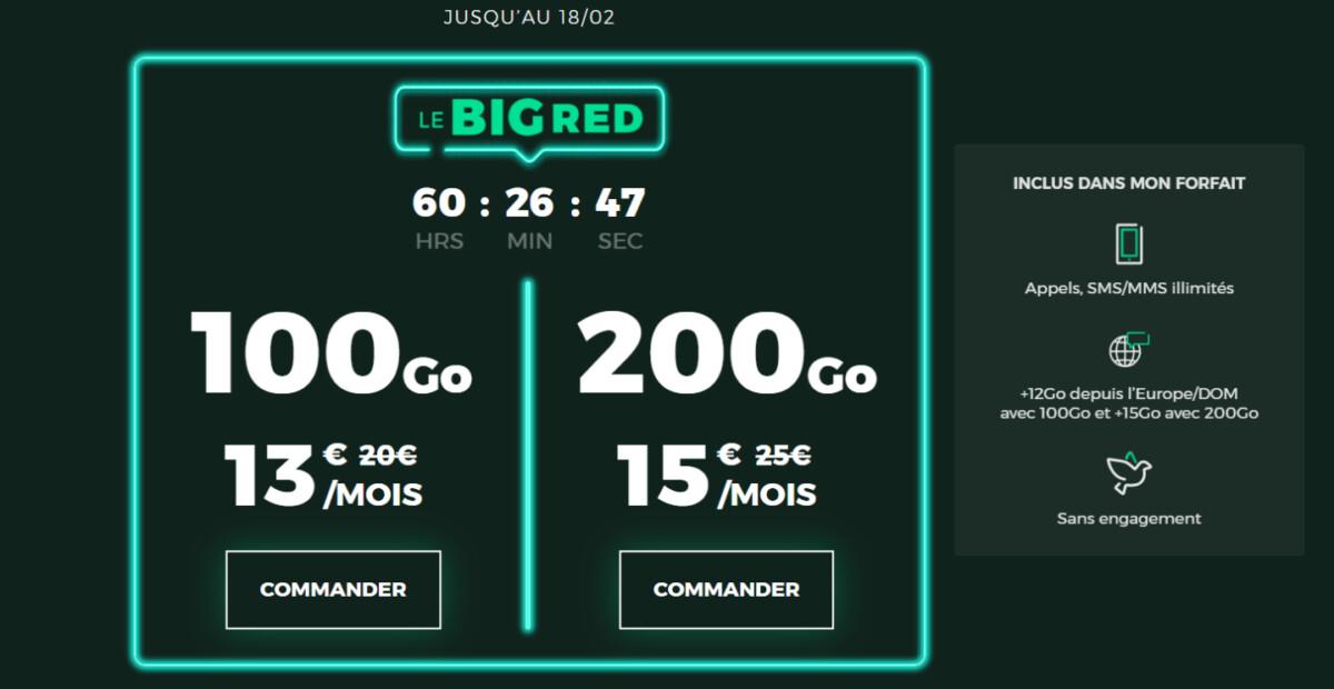 BIG RED : seulement 3 jours pour profiter d'une grosse réduction sur ce forfait 200 Go