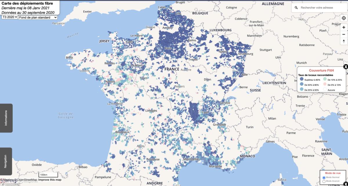 Carte actuelle du déploiement de la fibre optique en France / Arcep