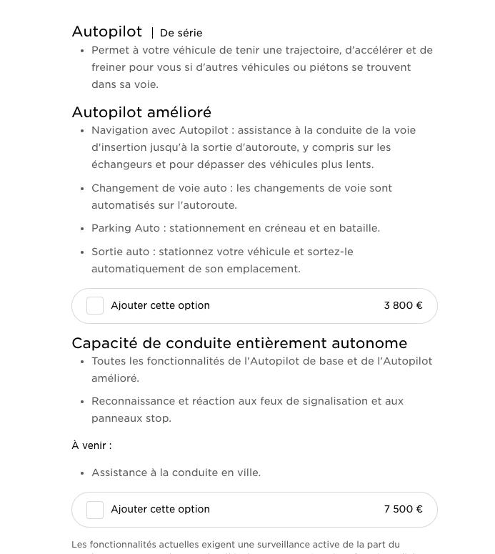 Les fonctions «Autopilot» qui sont disponibles même après l'achat via un achat-in app directement dans la voiture