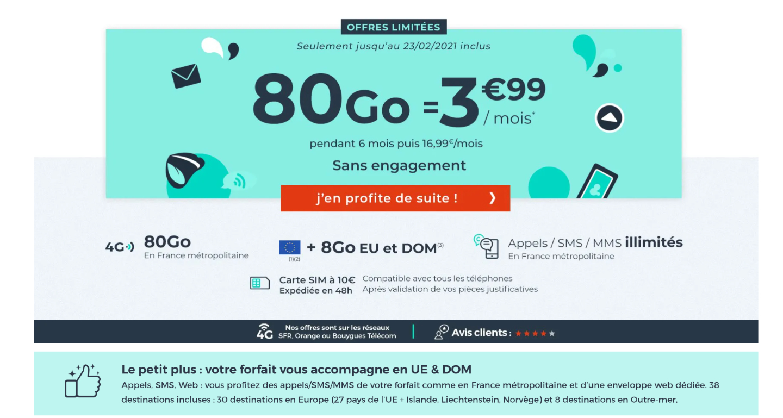Vous ne trouverez pas moins cher que ce forfait 80 Go à seulement 3,99 euros - Frandroid