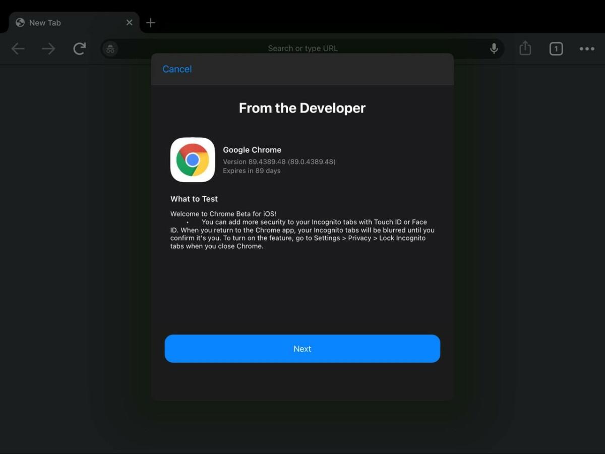 Les notes de la version bêta 89 de Chrome sur iOS