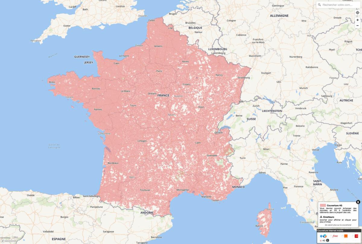 La couverture 4G de Bouygues Telecom selon l'ARCEP