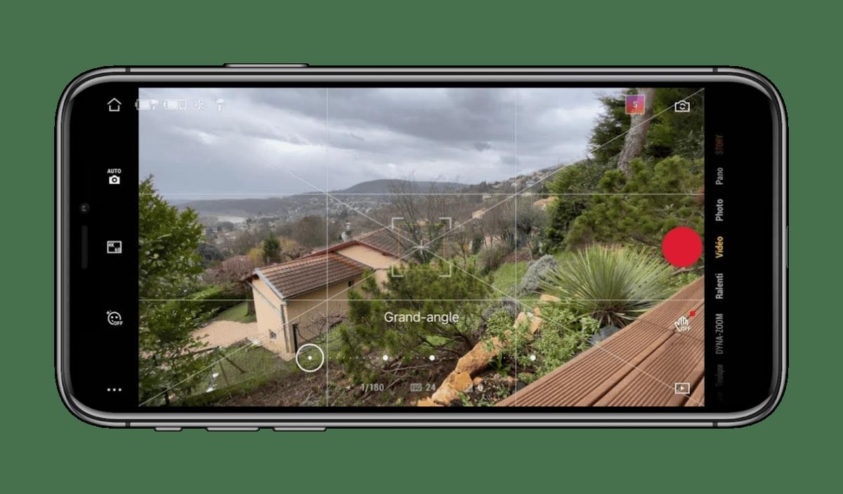 La vue caméra de l'application DJI Mimo