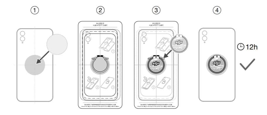 Le guide d'alignement pour bien coller l'anneau au dos du téléphone