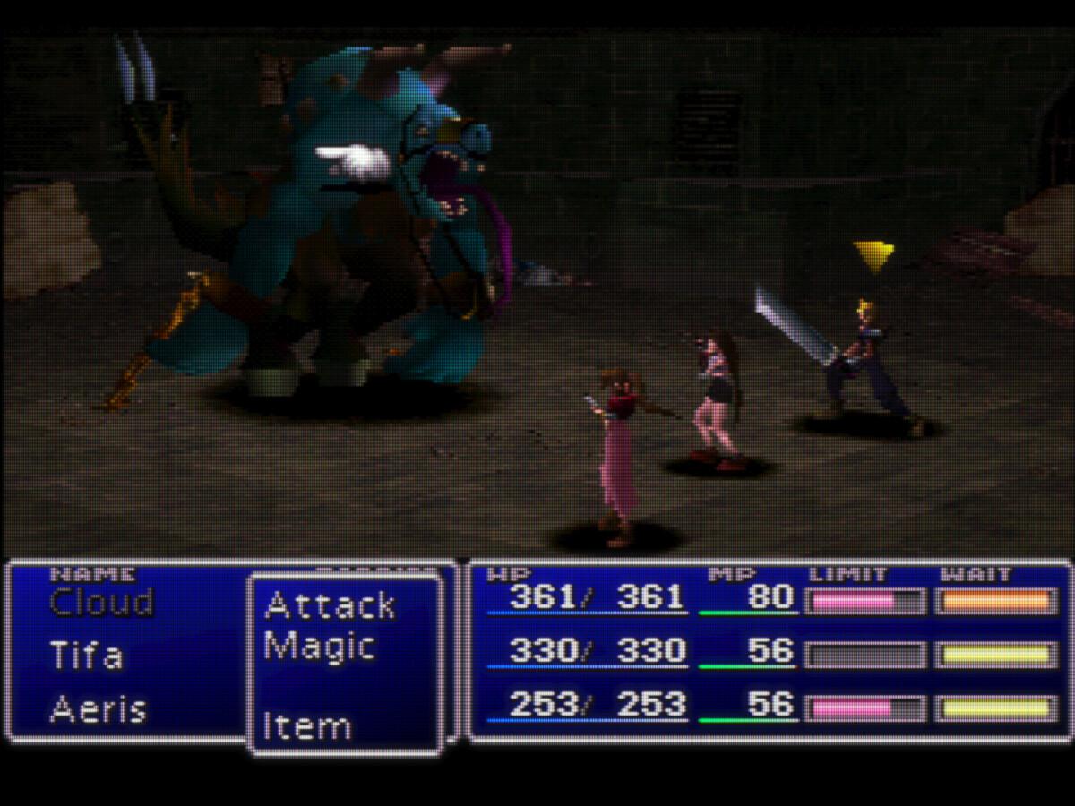 Final Fantasy VII sur émulateur avec le shader CRT-Royal qui simule l'affichage sur un écran à tube