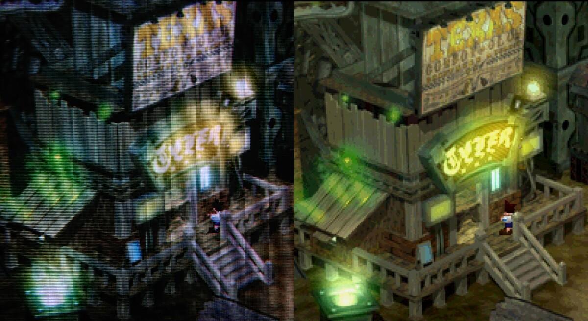 Les deux images sont identiques, mais celle de gauche s'affiche sur un écran à tube cathodique