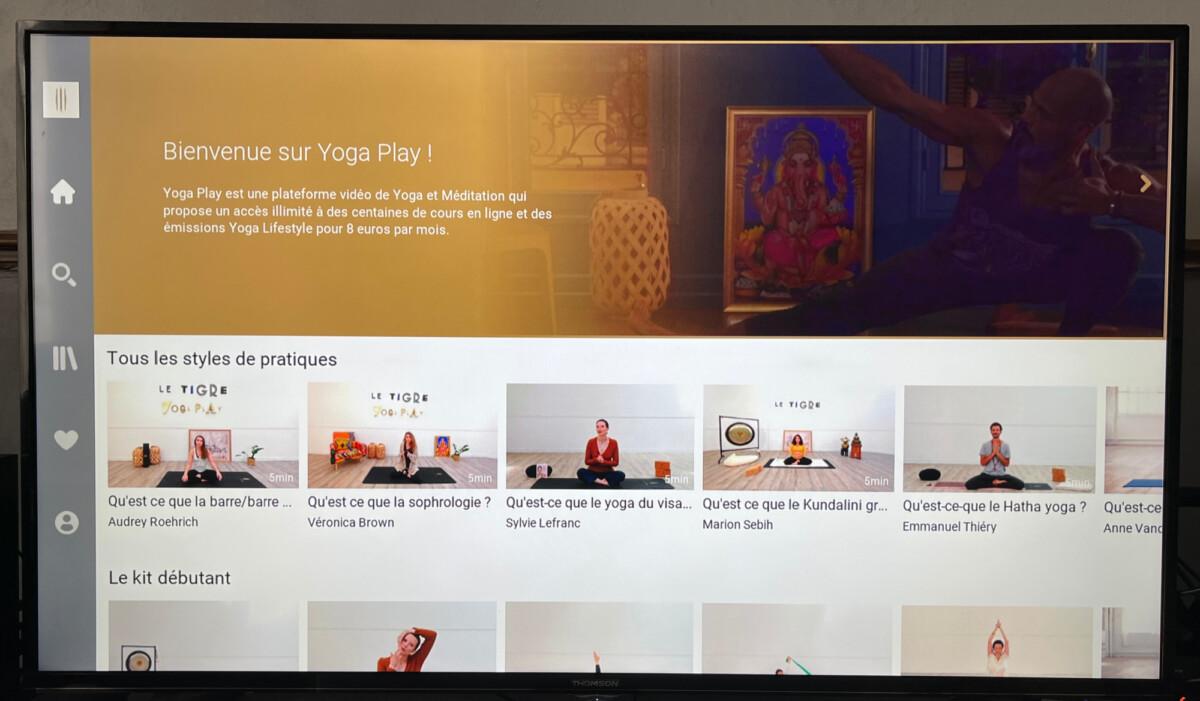 La plateforme Le Tigre YogaPlay sur la TV d'Orange