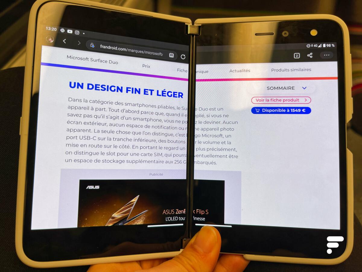 En plein écran, la page est tronquée sur le Microsoft Surface Duo