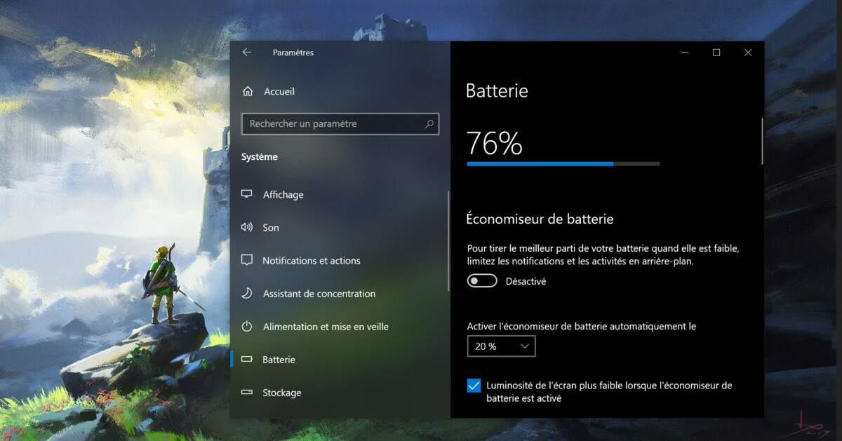 Menu Batterie Windows 10