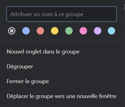 Name and color of the tab group on Chrome