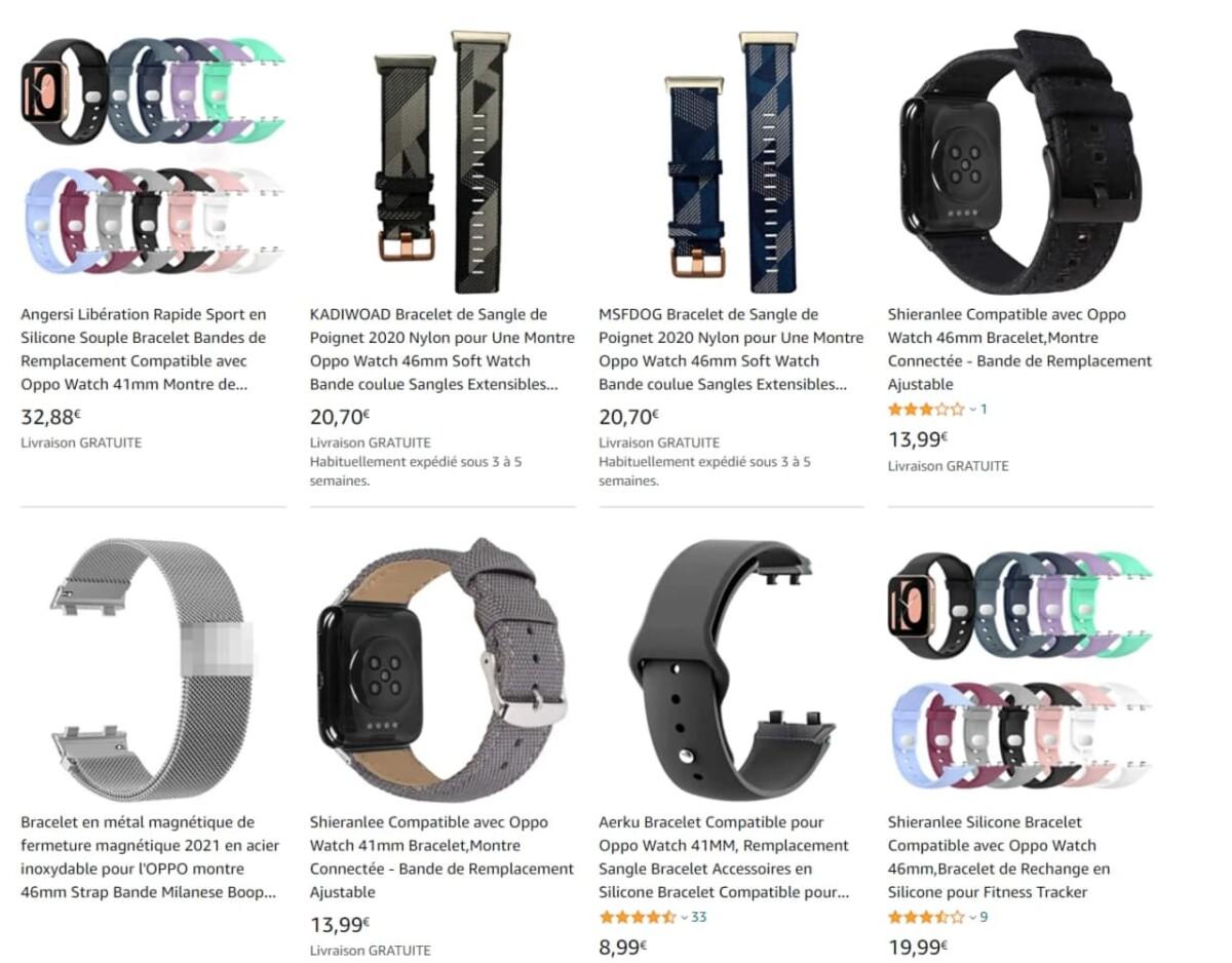 Les quelques bracelets non officiels pour l'Oppo Watch vendus en ligne