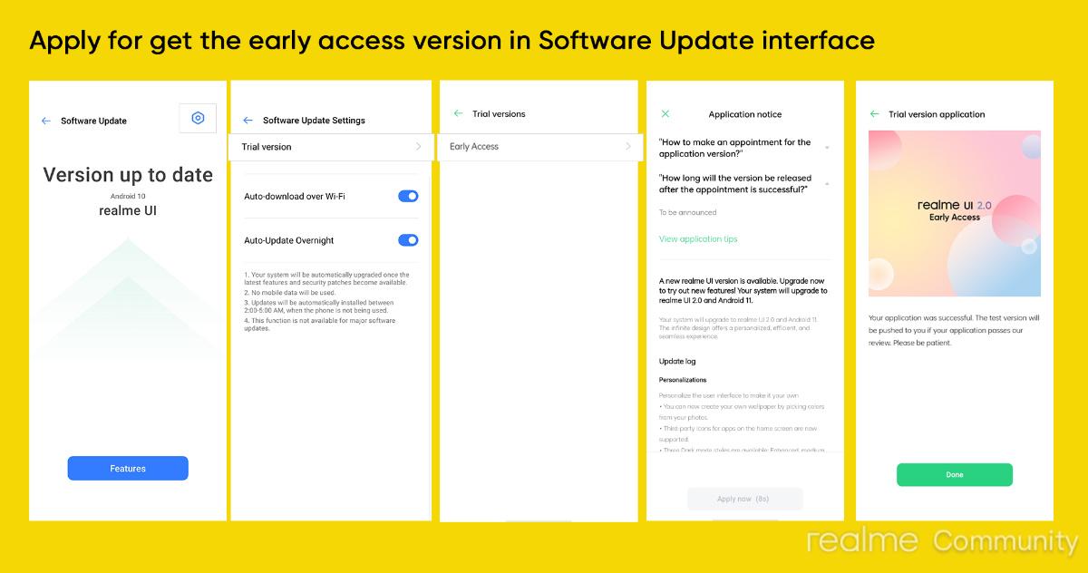 Realme UI2.0 et Android11 arrivent en early access sur plus de smartphones