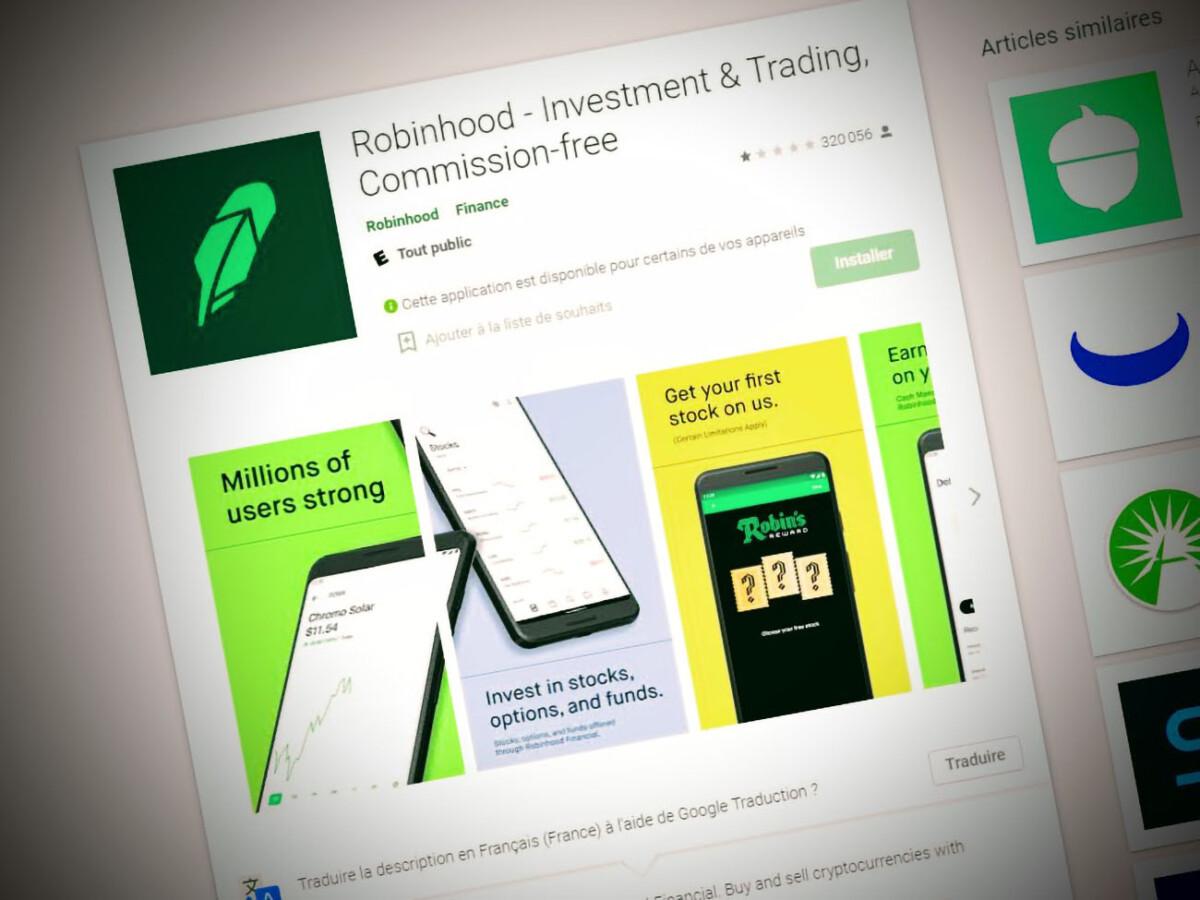 The Robinhood app on the Google Play Store